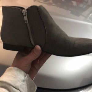 Ladies size 7 gray booties with zip on each side